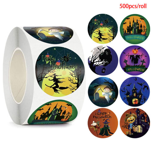 500pcs Halloween Witch Round Stickers Envelope Sealing Labels Candy Bag Stic-xp