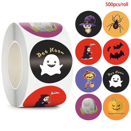 500pcs Halloween Spider Round Stickers Envelope Sealing Labels Candy Bag Stic-xp