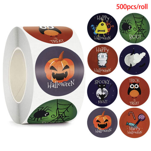 500pcs Happy Halloween Round Stickers Envelope Sealing Labels Candy Bag Stic-xp