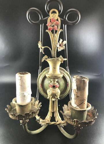 1920s Neoclassical Double Light Wall Sconce GOLD Brass Floral Basket Pull Chains