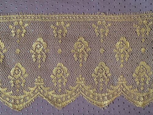 Vintage French Golden Chantilly Lace edging - Floral design 120 + 110 by 15cm