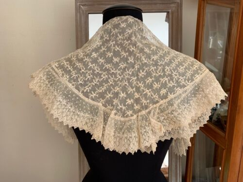 Beautiful Antique Victorian French Lace Mantilla with provenance