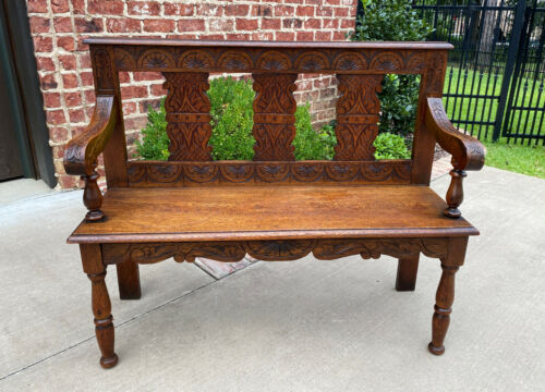 Antique English Petite Bench Settee Hall Entry Bench Banquette Oak 19thC