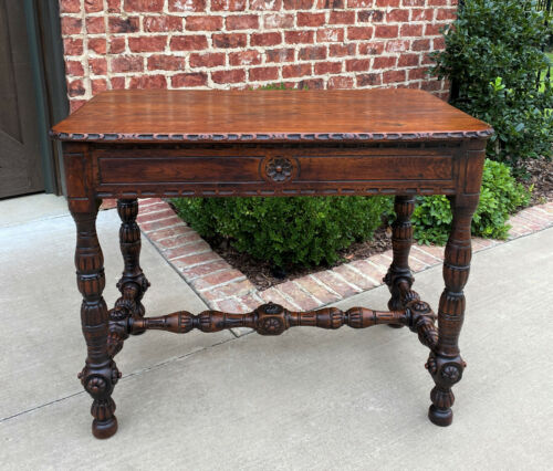 Antique English Table Console Entry Sofa Foyer w Drawers Carved Oak Mid 19th C