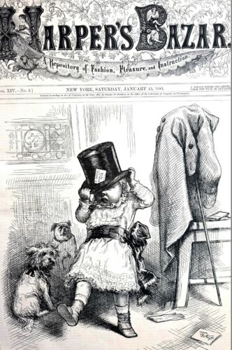 Happy New Years Day 1881 FIRST CALLER CHILD PUG TERRIER Thomas Nast Matted Print