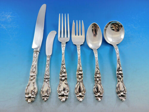 Lily by Frank Whiting Sterling Silver Flatware Service for 12 Set 73 pcs Floral