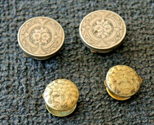 4 ANTIQUE WEST'S PATENT BACHELOR BUTTONS ENGRAVED FACES 2 LARGE 2 SMALL #8