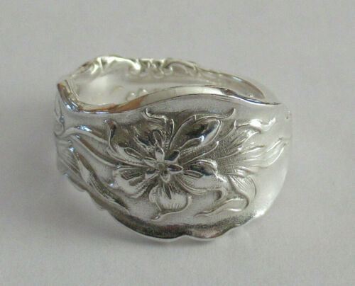 Sterling Silver Spoon Ring - Unger / Narcissus - size - 7 1/2 (7 to 8) - 1890