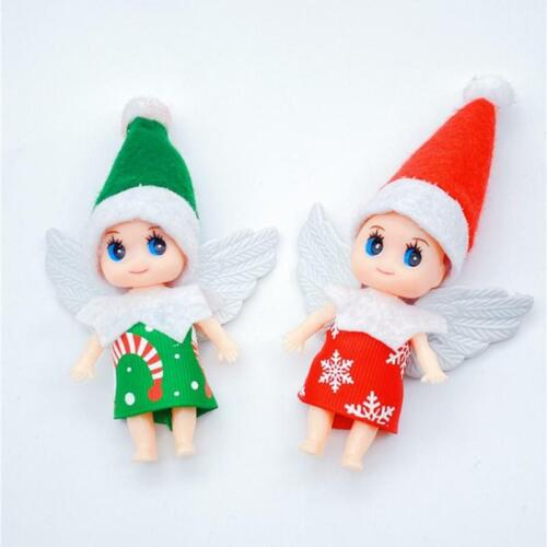 2Pcs Christmas Elf Doll with Wing Movable Arms Legs Mini Baby Twin Miniature Toy