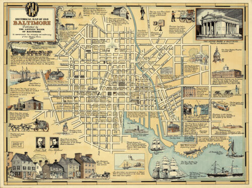 """Pictorial Historical Map of Old Baltimore Art Poster Print Wall Decor 11""""x14.5"""""""