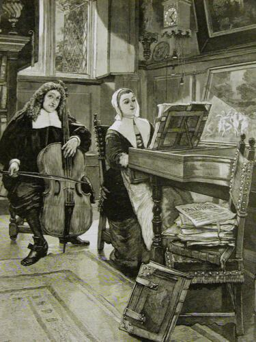 Forestier BASS VIOLIN CELLO PIANO SPINET PILGRIMS DUET MUSIC 1888 Print Matted