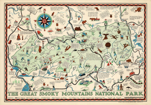1939 Map Great Smoky Mountains National Park North Carolina Tennessee Art 11x16
