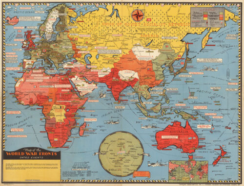 1943 Pictorial Map World War Fronts Dated Events WWII Military Wall Poster 11x16