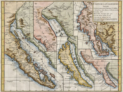 Baja California Map in Five Different States 1656-1767 Home School 11x15 Poster