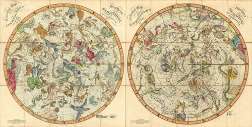 """1820 Celestial Maps Both Hemispheres Constellations Astronomy Wall Poster 8""""x16"""""""