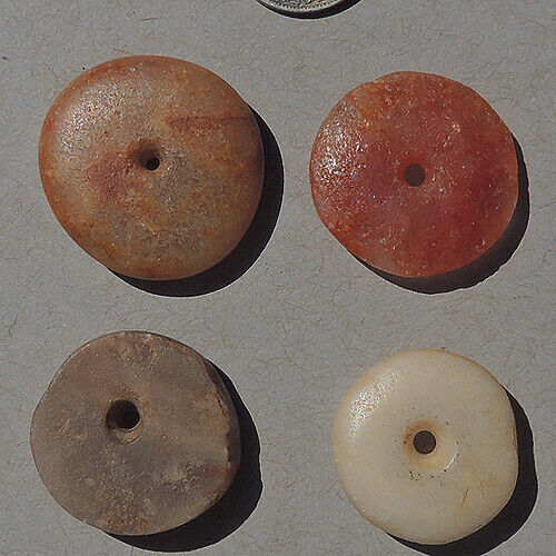 4 ancient african granite stone disc beads mali #4958