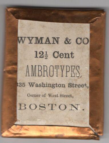 WYMAN BOSTON  signed 12-1/2 CENT  AMBROTYPE PRETTY GIRL EXPOSED SHOULDERS