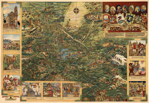 """1930 Pictorial Map Bird's eye view Valley of Mexico City 11""""x16"""" History Poster"""