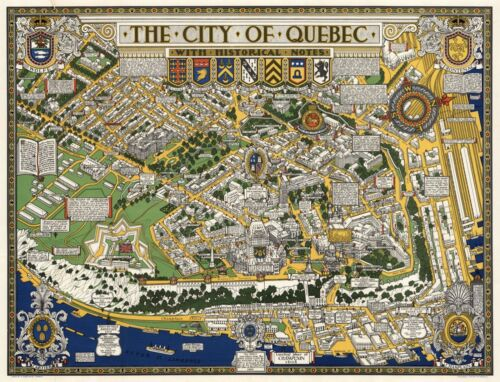 """Pictorial Birds-Eye View Map City of Quebec with Historical Notes Poster 11""""x14"""