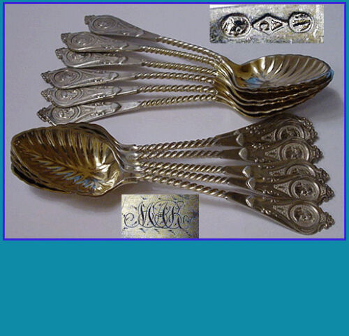 12 coin silver spoons by ALBERT COLES 1835–1849 New York in MEDALLION pattern