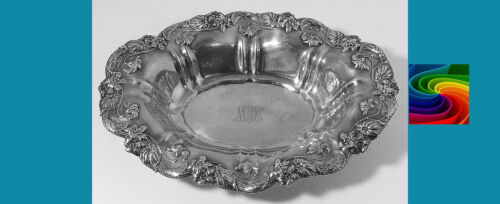 """FANTASTICAL 7"""" sterling silver Nut Bowl in VIOLET pattern by Whiting"""