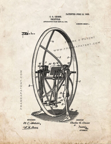 Unicycle Patent Print Old Look