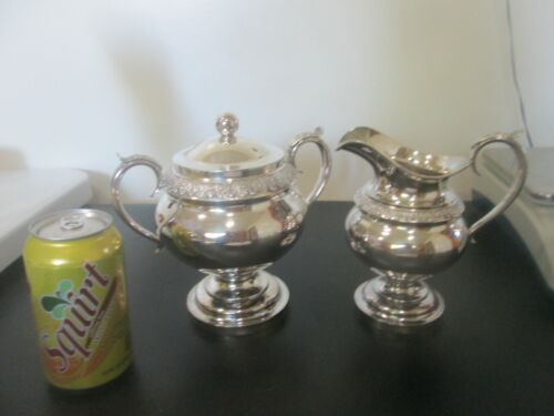 Large 1840 COIN SILVER  CREAMER & SUGAR  by  P. MILLER - PROVIDENCE RI - 25 toz