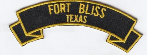 """Fort Bliss Texas 4"""" rocker tab embroidered patch"""