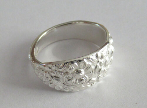 Sterling Silver Spoon Ring -Manchester / Southern Rose - size 7 - 1910