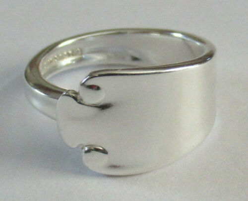 Sterling Silver Spoon Ring - Tiffany / Flemish - size 7 1/2 (6 to 8) - 1911