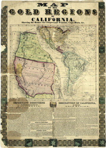 """1848 Map of the Gold regions of California Mining 11""""x15"""" History Wall Poster"""