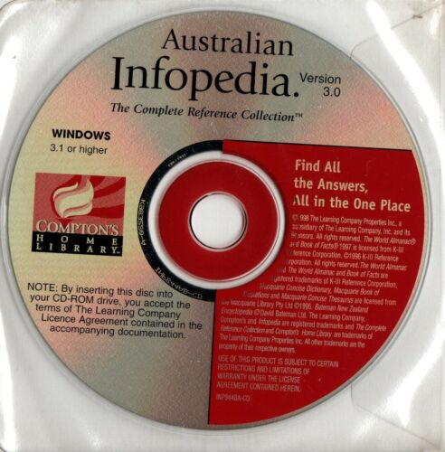 AUSTRALIAN INFOPEDIA-Comptons Complete Reference Collection -CD-ROM-1998-VINTAGE