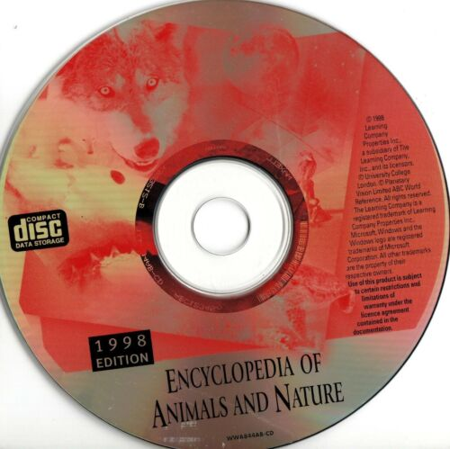 ENCYCLOPEDIA OF ANIMALS AND NATURE -CD-ROM -1998 -The Learning Company - VINTAGE