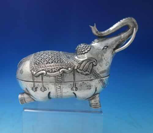 India Sterling Silver Tea Caddy Elephant Form with Chrysanthemums c.1950 (#5468)