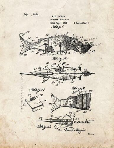Artificial Fish Bait Patent Print Old Look
