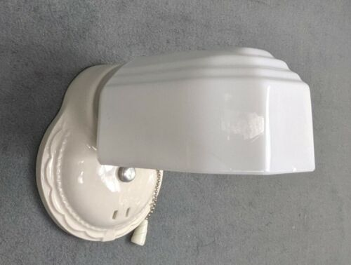 1930's Porcelier Art Deco, White Over-sink Porcelain Sconce & Shade, New Wiring