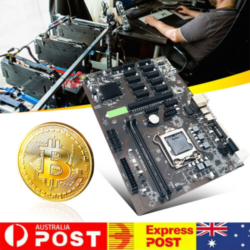 B250 BTC Mining Motherboard 12X PCIE Graphics Card DDR4 DIMM Supports VGA