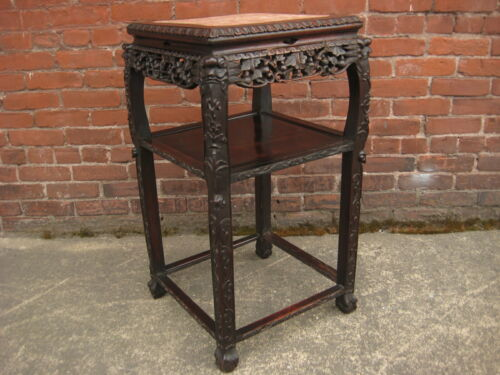 ANTIQUE 19th CENTURY CHINESE CARVED HONGMU BLACKWOOD MARBLE INLAY SQUARE STAND