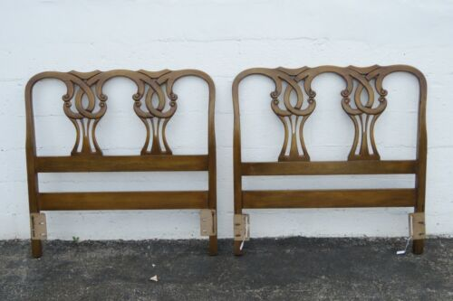 French Carved Mahogany Pair Twin Size of Headboards 2441