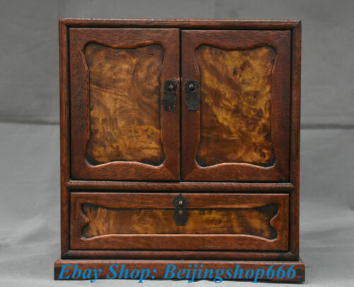 """11"""" Old Chinese Huanghuali Wood Carving Dynasty Furniture Drawer Cabinet"""