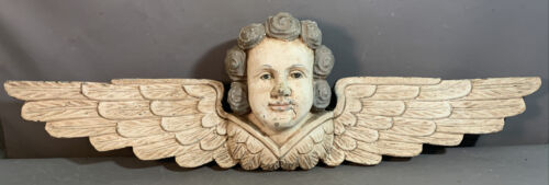 """37"""" Vintage ITALIAN Type CARVED WOOD Old GLASS EYE Winged PUTTI BUST Wall STATUE <br/> 11"""" X 37"""" ~ 40+ Estate Fresh Antiques Weekly ~ SSAOBX"""