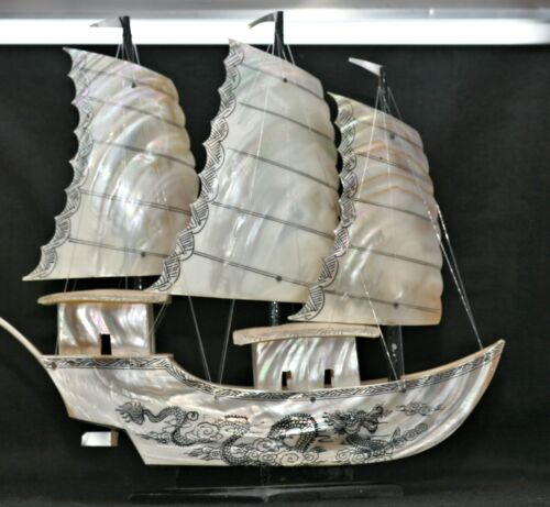 Well Made Large Vintage Chinese Junk Made Of Mother Of Pearl Excellent Condition