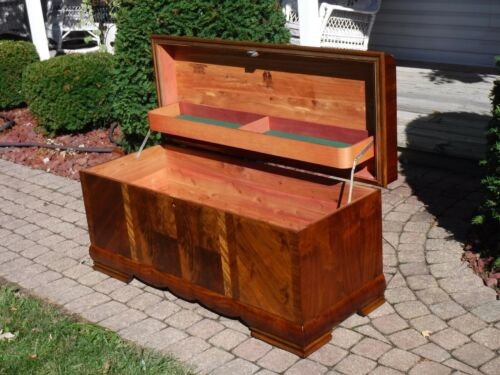 """MidCentury Waterfall Cedar Hope Chest LOCK HAS BEEN REMOVED""""FREE""""Greyhound Ship"""