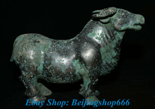 """10"""" Old Chinese Bronze Ware Palace Animal Zodiac Year Bull Cattle Oxen Sculpture"""