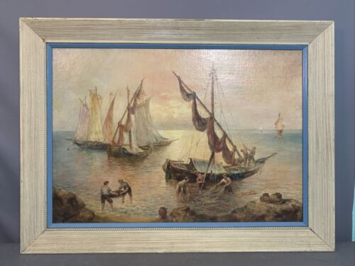 """Antique ITALIAN SEASCAPE Old SAILBOATS & FISHERMAN Fishing Net NAUTICAL PAINTING <br/> 23"""" X 32"""" ~ 40+ Estate Fresh Antiques Weekly ~ SSAOBX"""