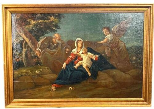 """19thC Antique RELIGIOUS ALLEGORICAL Scene MARY & BABY JESUS Old PAINTING Frame <br/> 29"""" X 42"""" ~ 40+ Estate Fresh Antiques Weekly ~ SSAOBX"""