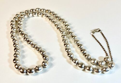 """Vintage Iguala Mexico Sterling Silver 8MM Bench Bead Necklace 38"""""""