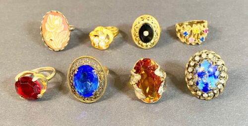 Vintage Lot Of 8 Unsigned Rings Czech Glass, Filigree, Gold Plate, Paste