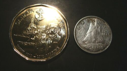 2010 CANADA  NAVY   100TH ANNIVERSARY LOONIE DOLLAR COIN AND 1965  SILVER  DIME