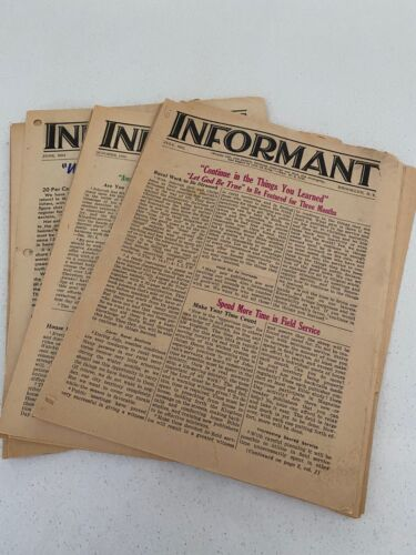 Watchtower Informant 1951 to 1956 Assorted